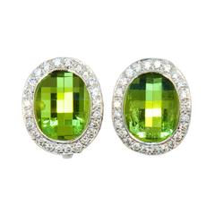 Laura Munder Peridot Diamond White Gold Earrings