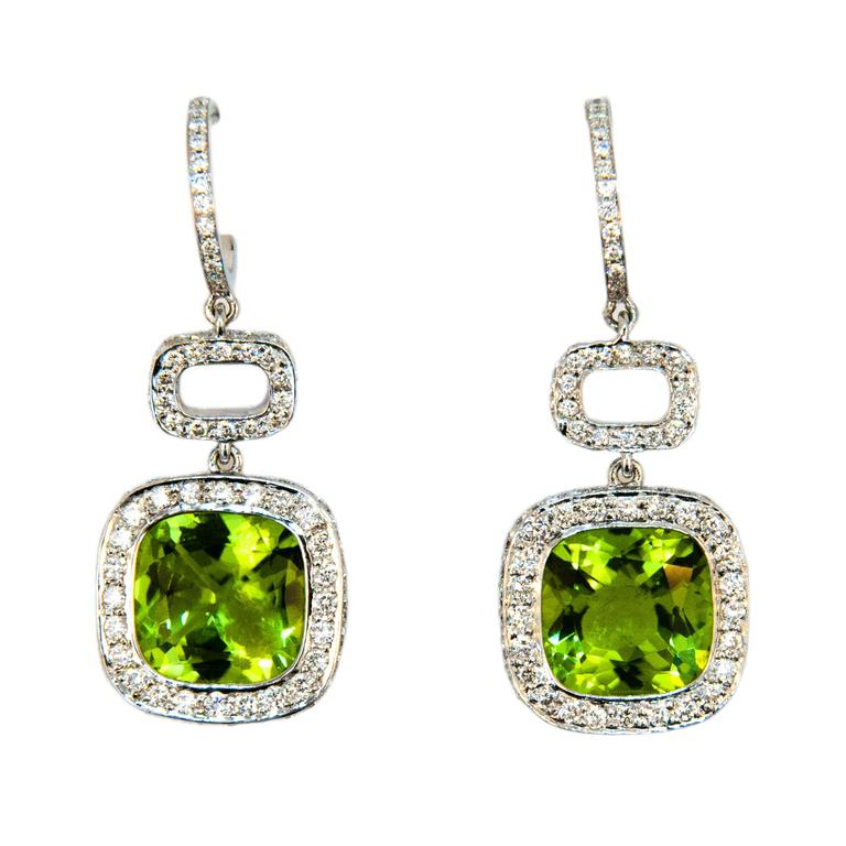 Laura Munder Peridot Diamond White Gold Earrings For Sale