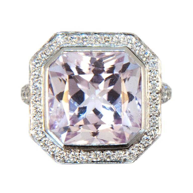 Laura Munder Kunzite Diamond White Gold Ring For Sale