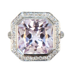 Laura Munder Kunzite Diamond White Gold Ring