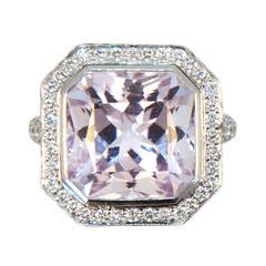 Laura Munder Kunzite Diamond White Gold Ring