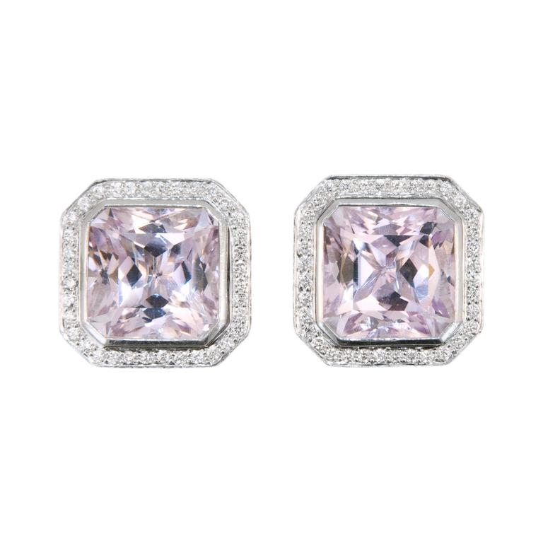 Laura Munder Kunzite Diamond White Gold Earrings For Sale