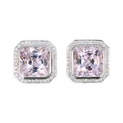 Laura Munder Kunzite Diamond White Gold Earrings