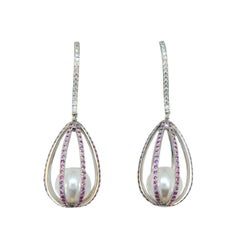 Laura Munder Pearl Pink Sapphire Diamond White Gold Dangle Earrings