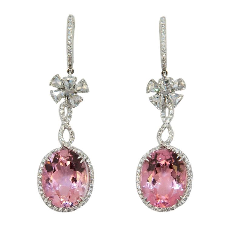 Laura Munder Pink Tourmaline Diamond White Gold Earrings