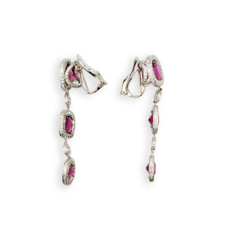 Laura Munder Rubellite Diamond White Gold Earrings In Excellent Condition For Sale In West Palm Beach, FL