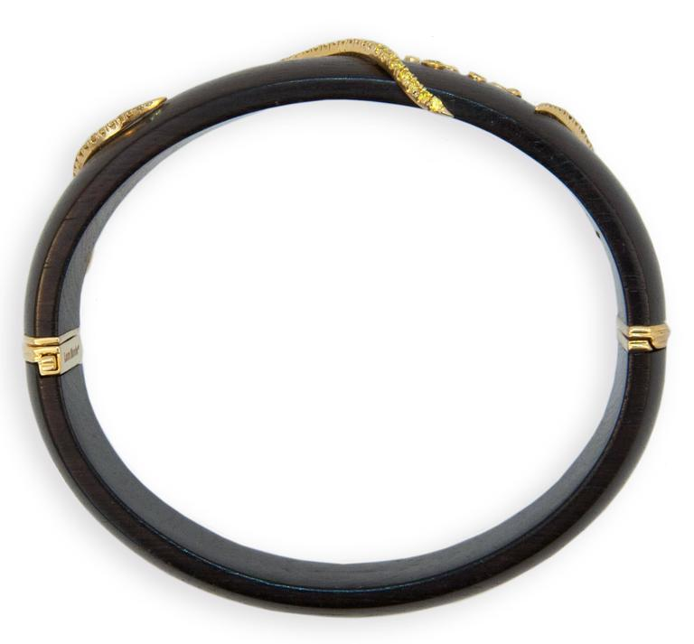 Laura Munder Grenadill Wood and Yellow Diamond Gold Bangle Bracelet In As new Condition For Sale In West Palm Beach, FL