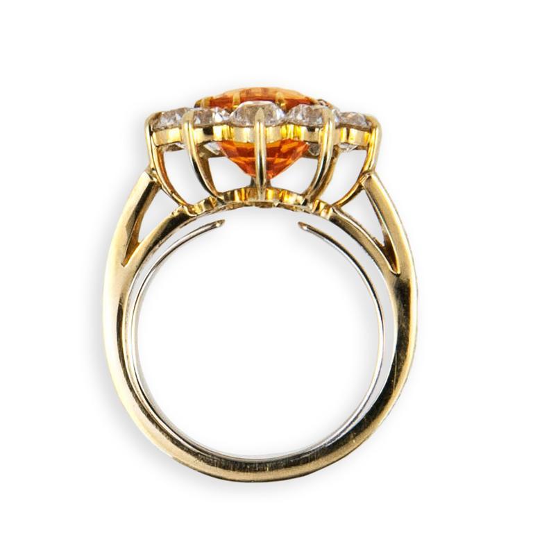 Laura Munder Mandarin Garnet Mine Cut Diamond Gold Ring In New Condition For Sale In West Palm Beach, FL