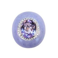 Laura Munder Lavender Jade Amethyst Diamond White Gold Ring