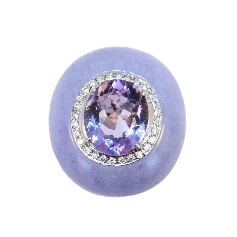 Laura Munder Lavender Jade Amethyst Diamond White Gold Ring For Sale