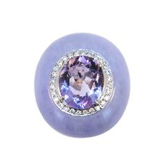 Laura Munder Lavender Jade Amethyst Diamond White Gold Ring