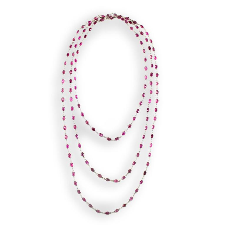 Laura Munder Pink Tourmaline Chain Link White Gold Necklace For Sale 2