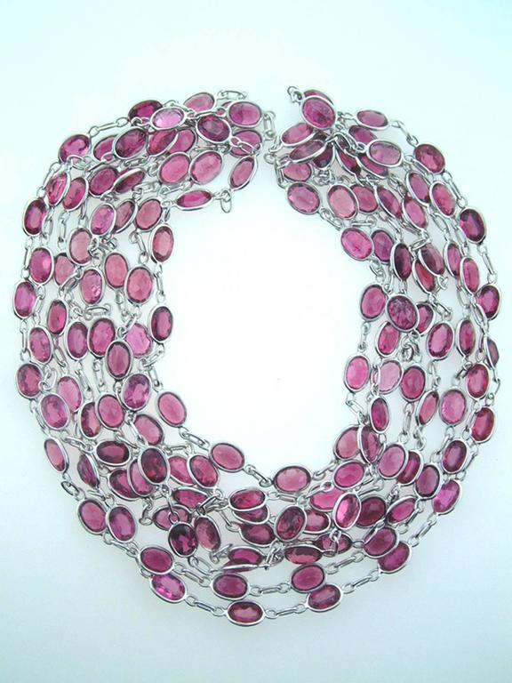 Laura Munder Pink Tourmaline Chain Link White Gold Necklace For Sale 3