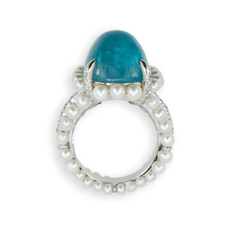 Cushion Cut Laura Munder Paraiba Tourmaline Diamond Cultured Pearl White Gold Ring For Sale