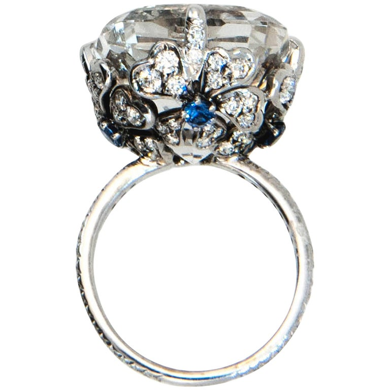 Laura Munder 27.99 Carat Pillow Cut Topaz Diamond Sapphire White Gold Ring