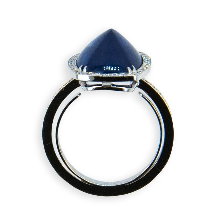 Laura Munder Blue Sapphire Diamond White Gold Ring 2