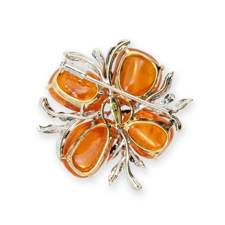 Laura Munder Mandarin Garnet and Diamond Brooch 2