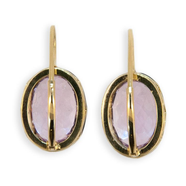 Laura Munder Kunzite Sterling Yellow Gold Earring In As new Condition For Sale In West Palm Beach, FL