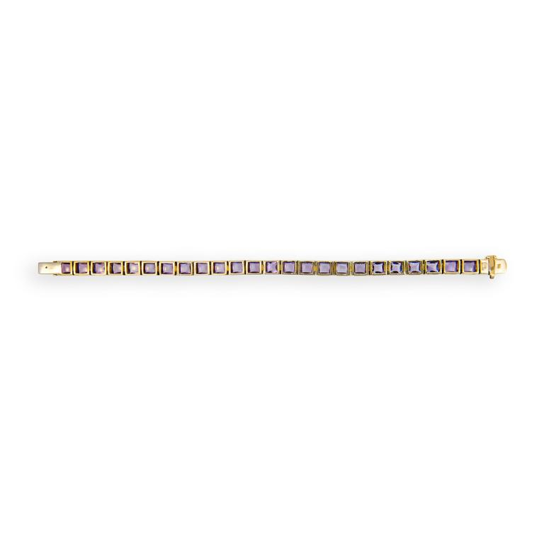 Women's Laura Munder Amethyst Sugarloaf Yellow Gold Bracelet