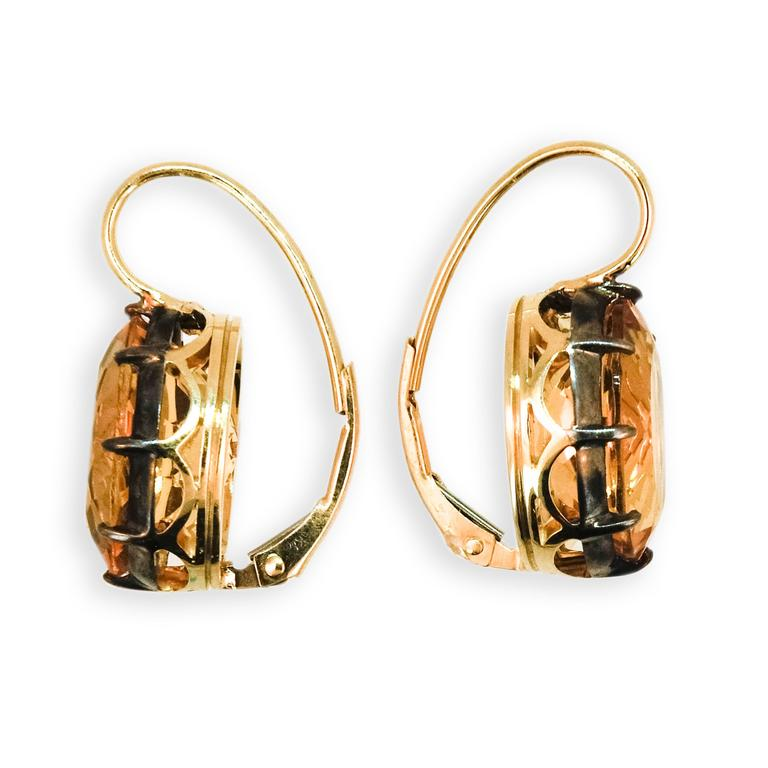 Laura Munder Citrine Yellow Gold and Sterling Silver Earrings 3