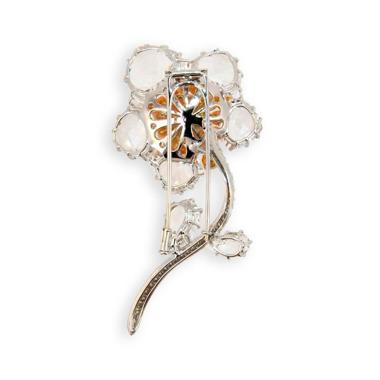 Laura Munder Pink Opal Coral Crystal and Diamond White Gold Brooch 2