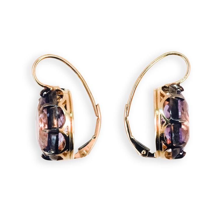 Laura Munder Amethyst Yellow Gold and Sterling Silver Leverback Earrings 3