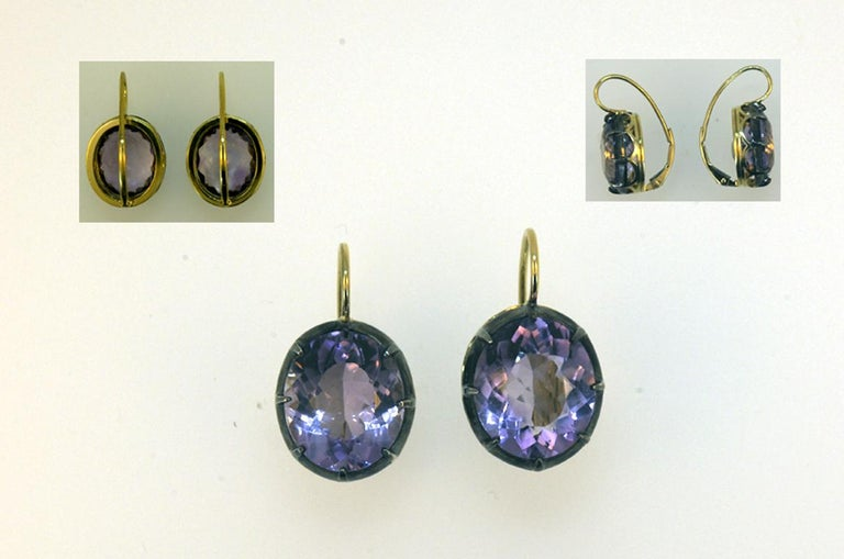 Women's Laura Munder Amethyst Yellow Gold and Sterling Silver Leverback Earrings For Sale