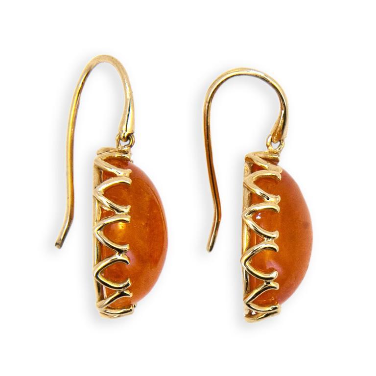 Laura Munder Mandarin Garnet Cabochon Yellow Gold Earrings 2