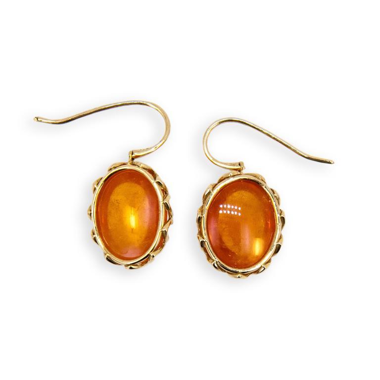 Laura Munder Mandarin Garnet Cabochon Yellow Gold Earrings 3