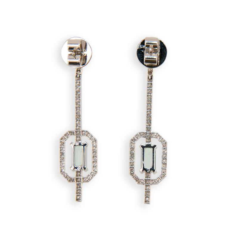 Laura Munder Mint Green Tourmaline Diamond White Gold Earrings 3