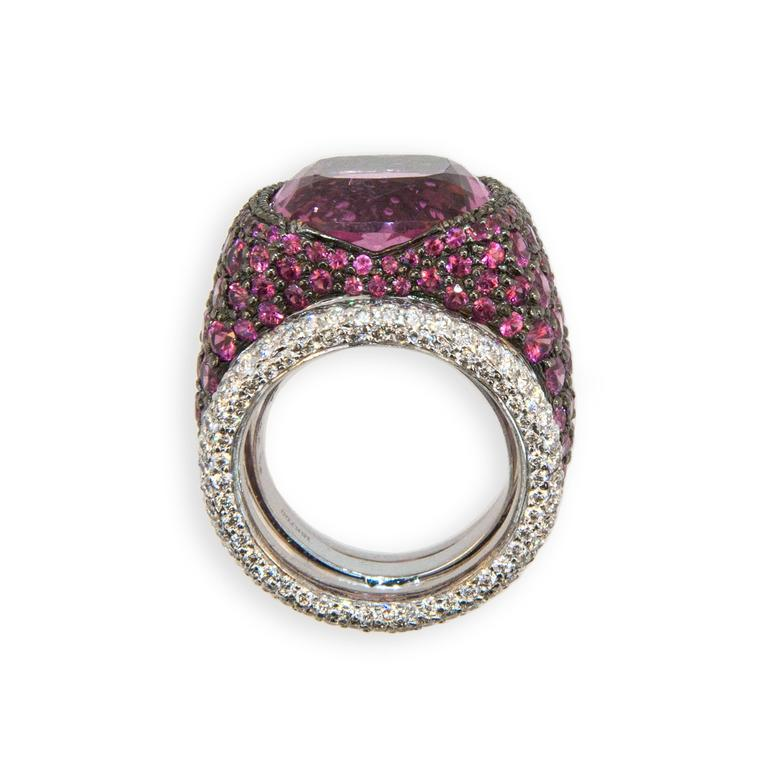 Cushion Cut Laura Munder Pink Tourmaline Pink Sapphire Diamond Blackened White Gold Ring For Sale
