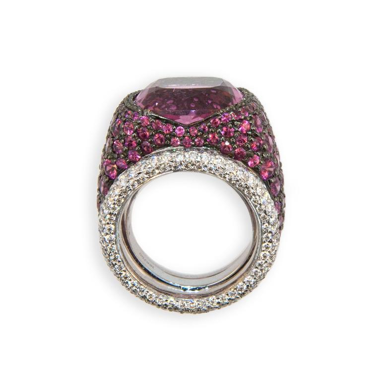 Laura Munder Pink Tourmaline Pink Sapphire Diamond Blackened White Gold Ring 3