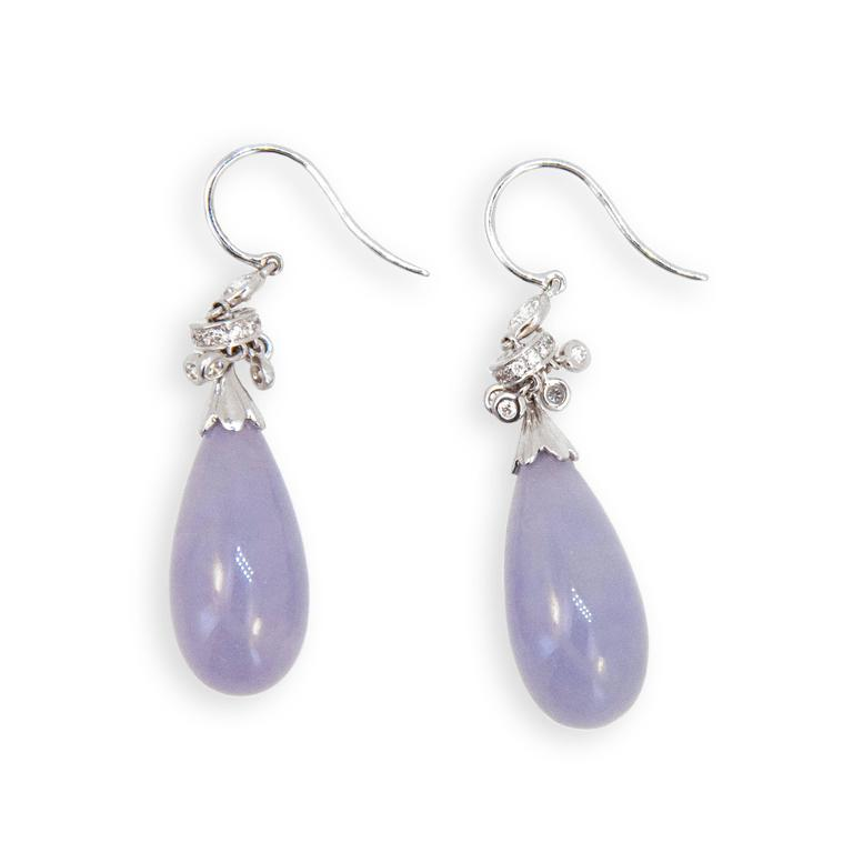 Lavender Jade Diamond White Gold Earrings 2