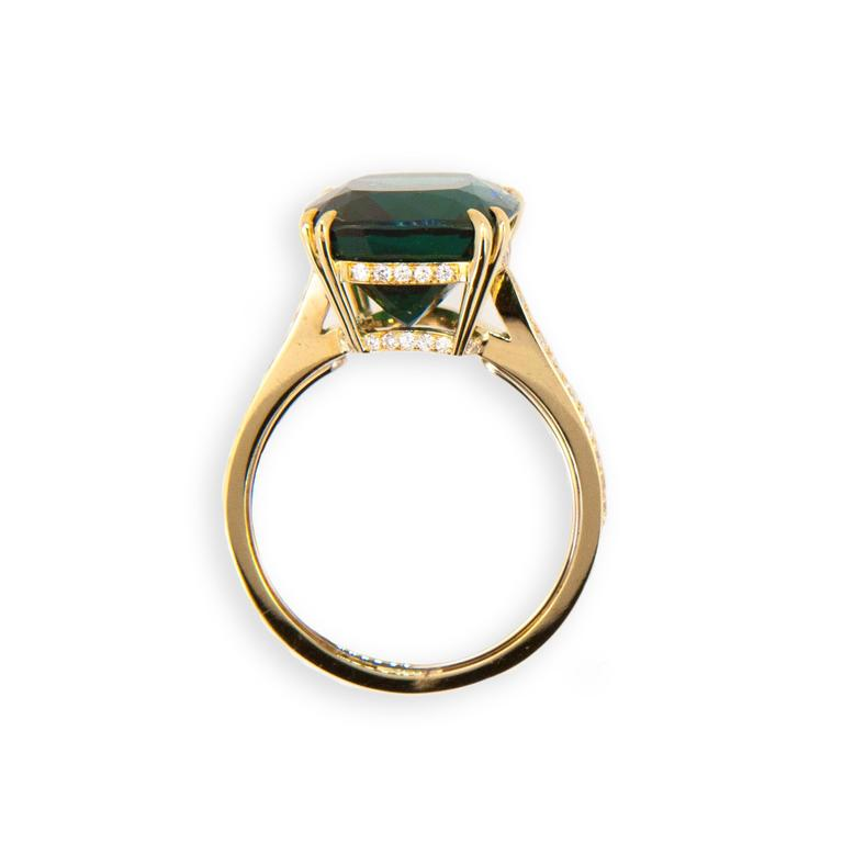 Cushion Cut Laura Munder Indicolite Blue Green Tourmaline Diamond Yellow Gold Ring For Sale