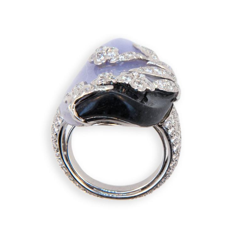 Laura Munder Lavender Jade Black Jade Diamond White Gold Ring 5