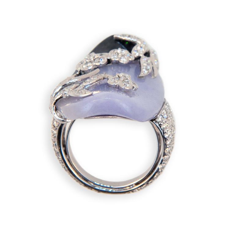 Laura Munder Lavender Jade Black Jade Diamond White Gold Ring 6