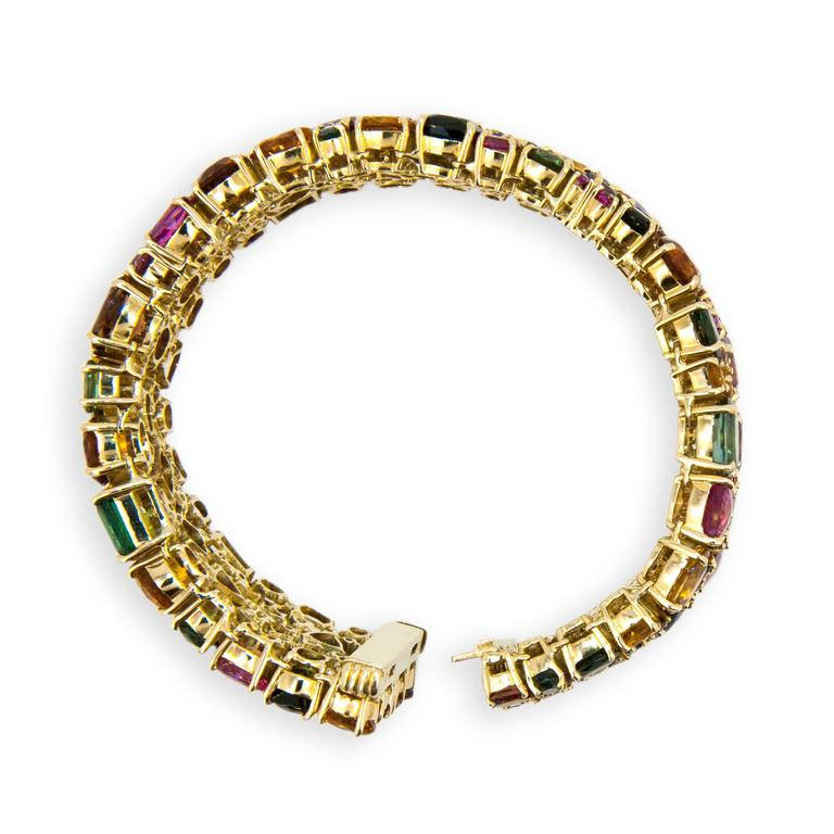 Laura Munder Tourmaline Garnet Citrine Pink Sapphire Yellow Gold Bracelet In Excellent Condition In West Palm Beach, FL