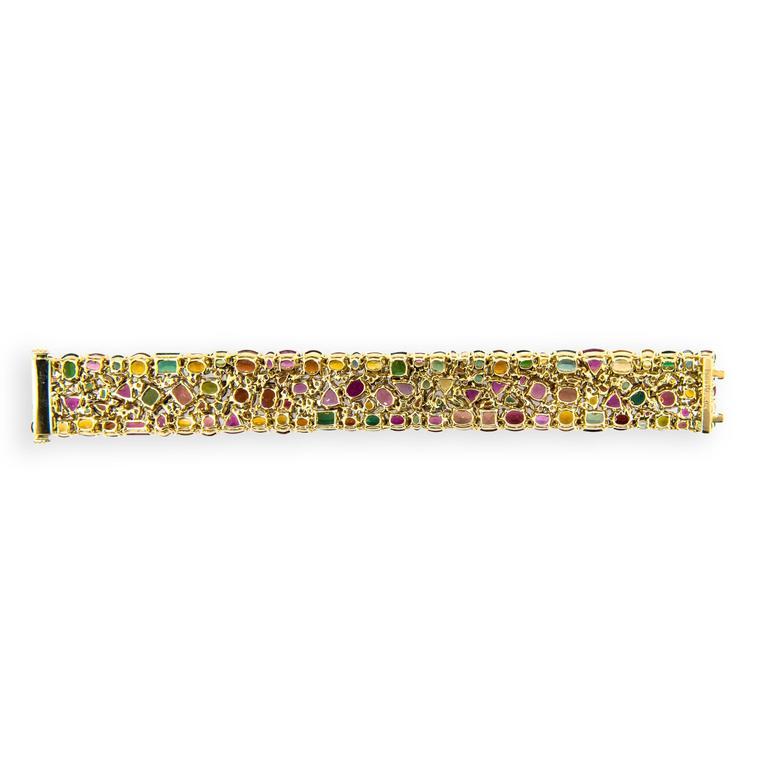 Women's Laura Munder Tourmaline Garnet Citrine Pink Sapphire Yellow Gold Bracelet For Sale