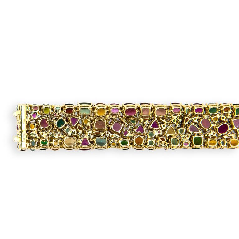 Laura Munder Tourmaline Garnet Citrine Pink Sapphire Yellow Gold Bracelet For Sale 1
