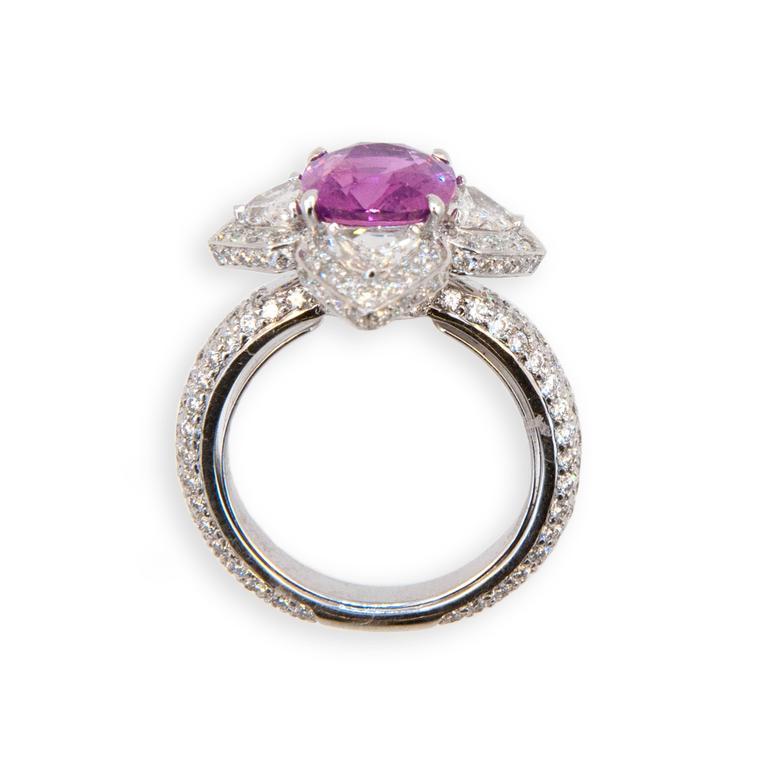 Laura Munder Pink Sapphire Diamond White Gold Ring 2