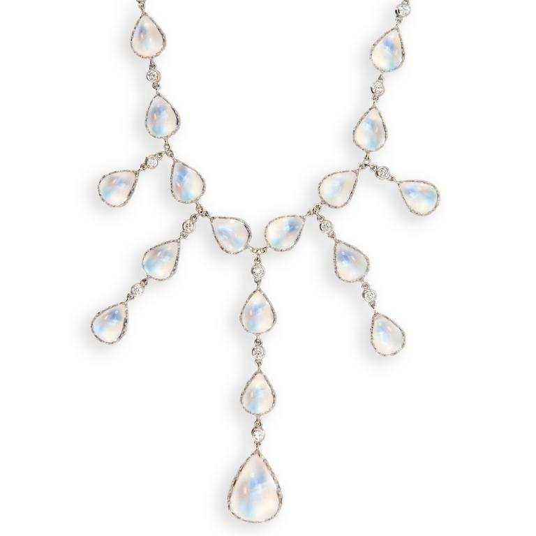 Laura Munder Moonstone Diamond White Gold Necklace 2