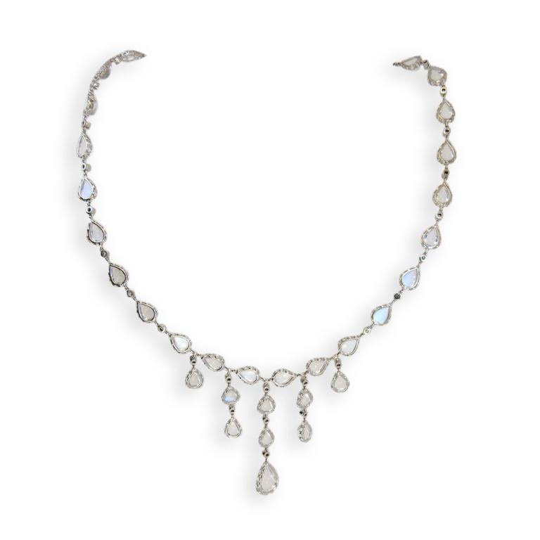 Laura Munder Moonstone Diamond White Gold Necklace 3