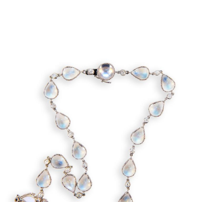 Laura Munder Moonstone Diamond White Gold Necklace 4