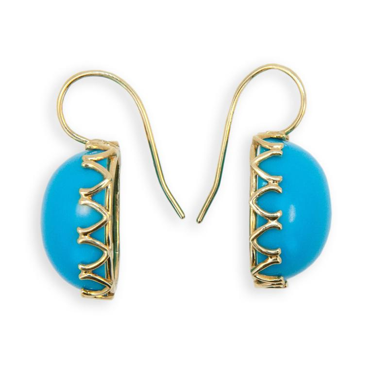 18 karat yellow gold earrings V scalloped bezel, each set with one cushion cabochon 16.5 x 14  mm Turquoise. Wires.