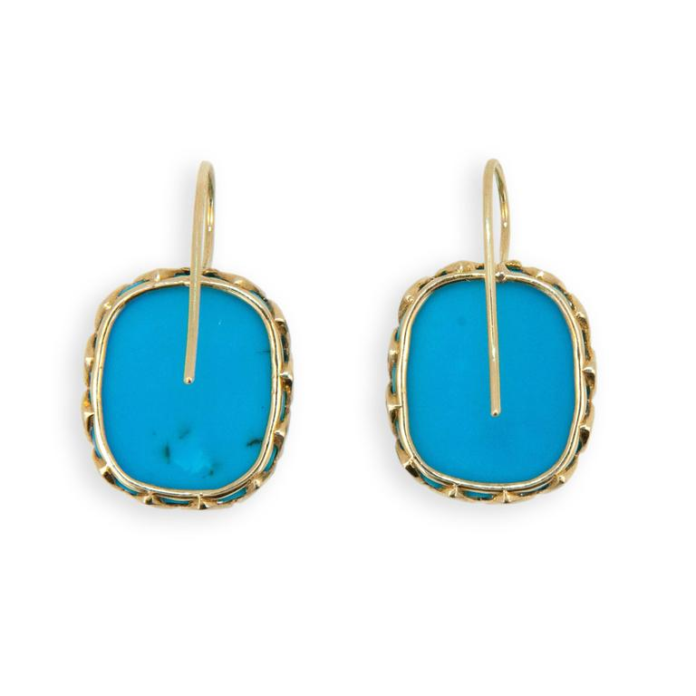 Laura Munder Turquoise Yellow Gold Earrings In New Condition For Sale In West Palm Beach, FL