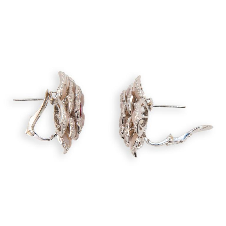 Laura Munder Pink Opal Pink Spinel Diamond White Gold Earrings In New Condition For Sale In West Palm Beach, FL