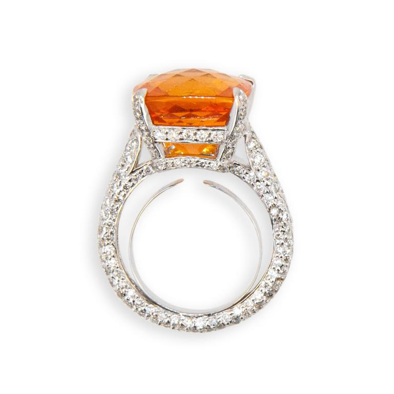 Cushion Cut Laura Munder Mandarin Garnet Diamond White Gold Ring For Sale