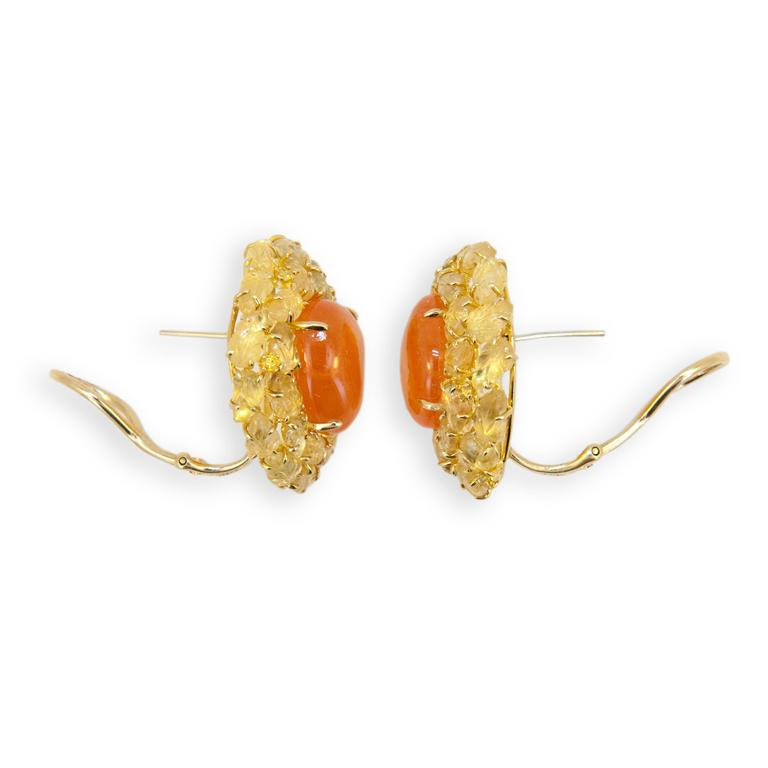 Laura Munder Mandarin Garnet Yellow Sapphire Yellow Diamond Yellow Gold Earrings 2