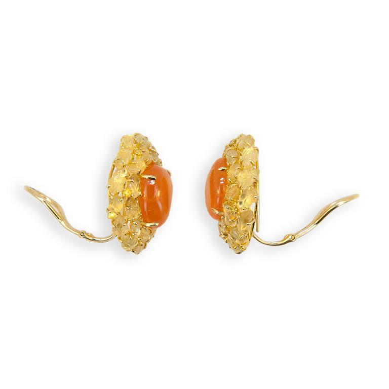 Laura Munder Mandarin Garnet Yellow Sapphire Yellow Diamond Yellow Gold Earrings 3