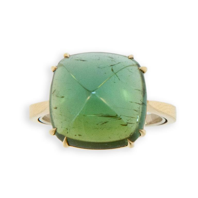 18 karat yellow gold ring set with one square cushion cut sugarloaf Green Tourmaline 8.96 carats. Double prongs. Ring is a size 6.5 with a horseshoe.